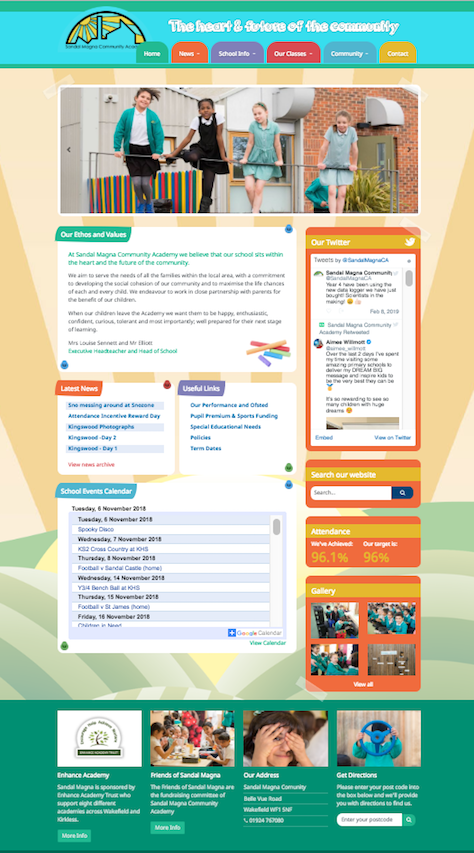 Sandal Magna Community Academy Website Refresh Screenshot