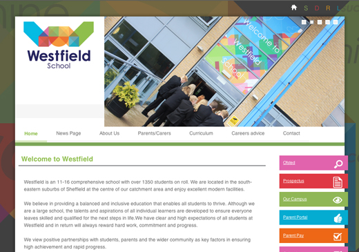 Westfield Website Screenshot