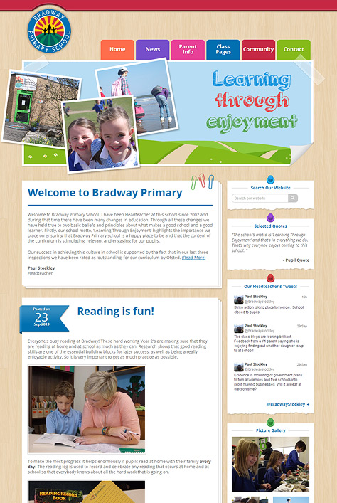 Bradway Primary School Website Screenshot